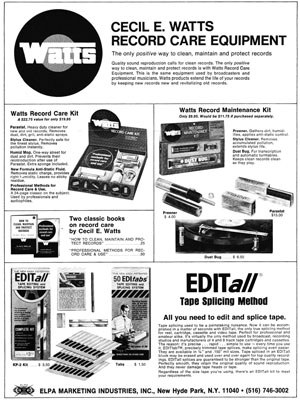Cecil E Watts Record Care Equipment