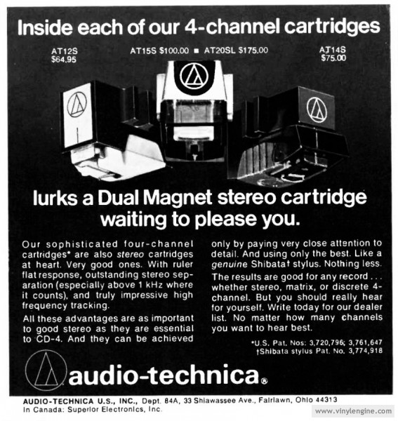 AT 4-channel cartridges advert  08/1974